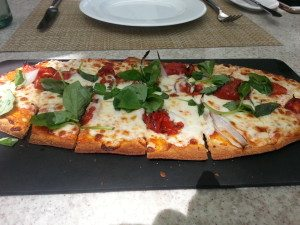 Roasted Tomato, Mozzarella and Basil Flatbread.
